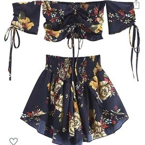 ZAFUL women's 2-piece floral outfit -midnight blue